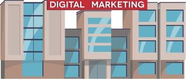 数字式营销学院大厦例证传染媒介 被隔绝的平的设计 公开教育机构 免版税库存照片