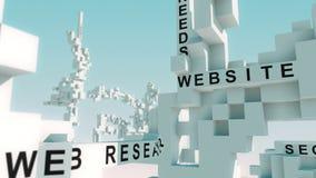 数字式营销词赋予生命与立方体 向量例证