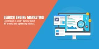 数字式营销-搜索引擎营销- SEM - Adword竞选- PPC概念 平的设计传染媒介横幅 向量例证