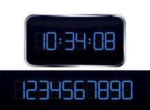 数字式蓝色时钟 免版税库存照片