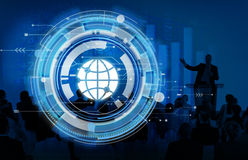数字式蓝色Hud接口全球性概念 皇族释放例证
