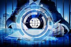 数字式蓝色Hud接口全球性概念 免版税库存照片
