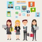 数字式行销和网上购物的OMNI渠道概念 我 免版税库存照片
