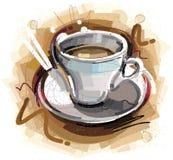 数字式被绘的咖啡杯 免版税库存照片