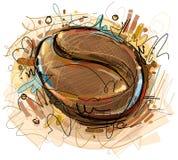 数字式被绘的咖啡豆 库存照片