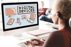 数字式装置电子学连接通信概念 免版税图库摄影