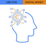 数字式金钱想法平的线传染媒介象 库存图片