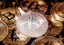 数字式金钱Bitcoin是现代贸易或现代货币exc的 库存图片