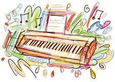 数字式钢琴剪影 库存照片