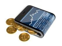 数字式钱包和Bitcoins的概念在白色背景 库存图片