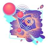 数字式颜色与3D球,圆环,线的摘要构成 库存图片