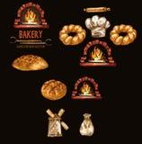 数字式颜色传染媒介明细行艺术圆的面包 免版税库存照片