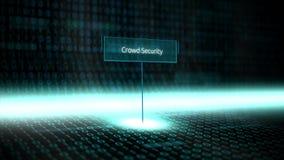 数字式风景软件定义了与未来派二进制编码的印刷术-拥挤安全 库存例证