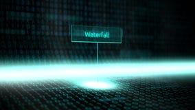 数字式风景软件定义了与未来派二进制编码-瀑布的印刷术 向量例证