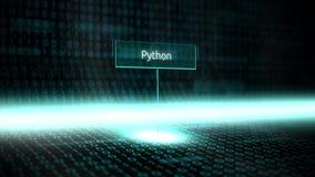 数字式风景软件定义了与未来派二进制编码- Python的印刷术 向量例证