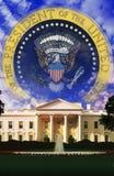 数字式综合:总统的白宫和封印 库存图片