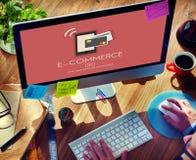 数字式付款电子商务购物的网上概念 免版税库存图片