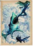 数字式绘画:鲨鱼攻击 免版税库存照片