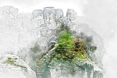 数字式Bastei水彩绘画  德国 免版税图库摄影