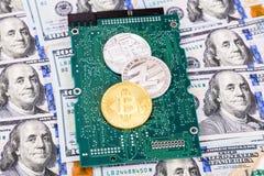 数字式cryptocurrency bitcoin,电子计算机的组分 库存图片