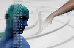 数字式Cyber电路题头3D 皇族释放例证