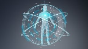数字式X-射线人体扫描背景接口3D翻译 向量例证