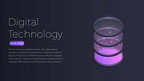 数字技术等量概念 未来派datacenter,大数据处理,服务器主持的例证 向量例证
