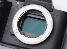 数字照相机35mm充分的框架ccd传感器和透镜登上特写镜头 免版税库存图片