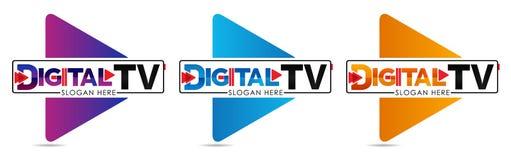 数字电视商标模板 媒介公司商标或影片生产演播室或者视听室或网上媒介 电视公司 Creati 库存例证