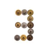 数字第三steampunk嵌齿轮齿轮技工设计 老生锈的破旧的金属构造了工业图3 减速火箭 库存照片