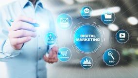 数字营销,网上广告,SEO,SEM,SMM 事务和互联网概念 免版税库存照片