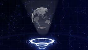 数字资料地球-科学技术的抽象例证 E 在三的围拢的行星地球 影视素材
