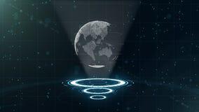 数字资料地球-科学技术的抽象例证 E 在三的围拢的行星地球 免版税库存图片