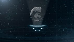 数字资料地球-科学技术的抽象例证 E 在三的围拢的行星地球 库存例证