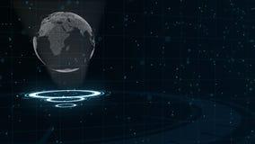 数字资料地球-科学技术的抽象例证 E 在三的围拢的行星地球 向量例证