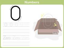 数字追踪的活页练习题:写0-9 库存图片