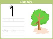 数字追踪的活页练习题:写0-9 免版税库存图片