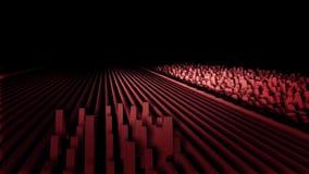 数字,摘要,在黑背景的红色波浪 长篇直线变换成波浪的,声振动 库存例证