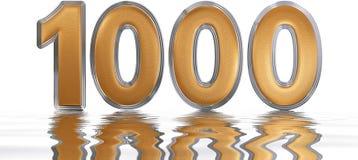 数字1000,一千,反射水表面上, 免版税库存照片