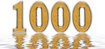 数字1000,一千,反射水表面上, isol 库存照片