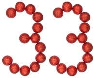 数字33,三十三,从装饰球,隔绝在whi 免版税库存图片