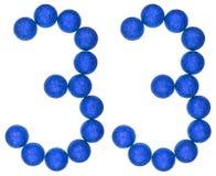 数字33,三十三,从装饰球,隔绝在whi 免版税图库摄影