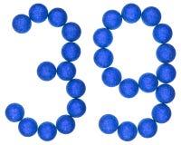 数字39,三十九,从装饰球,隔绝在丝毫 免版税图库摄影