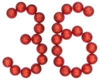 数字36,三十六,从装饰球,隔绝在白色 库存照片