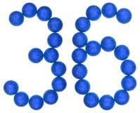 数字36,三十六,从装饰球,隔绝在白色 库存图片