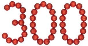 数字300,三百,从装饰球,隔绝在w 免版税库存照片