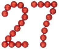 数字27,二十七,从装饰球,隔绝在whi 免版税库存图片