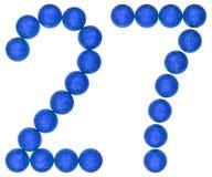 数字27,二十七,从装饰球,隔绝在whi 图库摄影