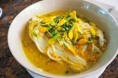 数字Banh Chok或者传统柬埔寨米线 免版税库存图片