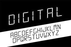 ??minimalistic?? 传染媒介英语字母表 Techno拉丁字母 库存例证